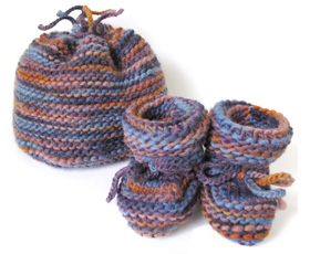 Variegated Baby Hat & Booties Set