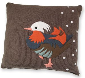 Colorful Realm Pillow KnitKit - Mandarin Duck in Snow
